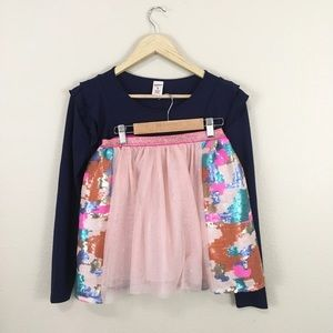 Girl's Ruffle Top and Sparkle Skirt